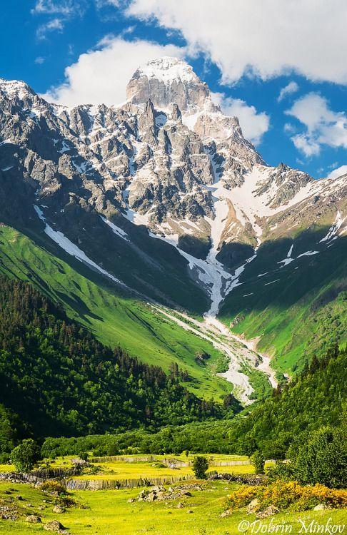 Ushba in the Caucasus Mountains, Svaneti, Georgia by DobriMv