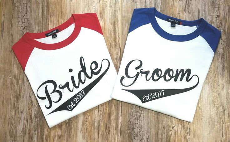 Bride and Groom 3/4 Sleeve Baseball T Shirt set Wedding Shirt Set Bridal Shirts by EmmaAlyseDesigns on Etsy https://www.etsy.com/listing/486659929/bride-and-groom-34-sleeve-baseball-t