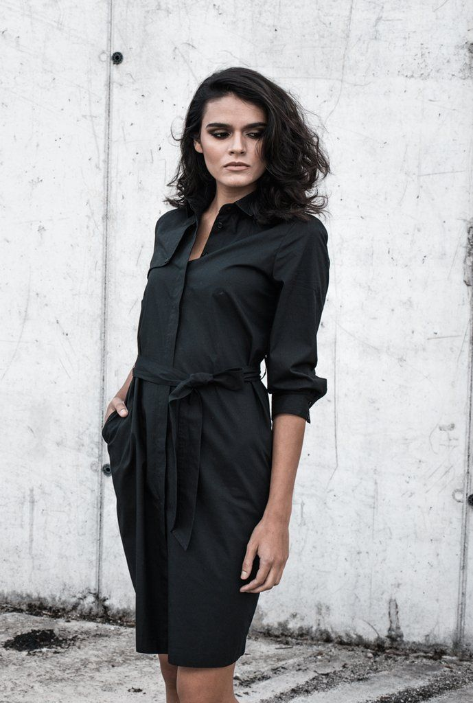 cc36908d6c3 Trenchcoat Inspired Shirt Dress in Black – from Sheer-Apparel If shirt  dresses didn . Visit