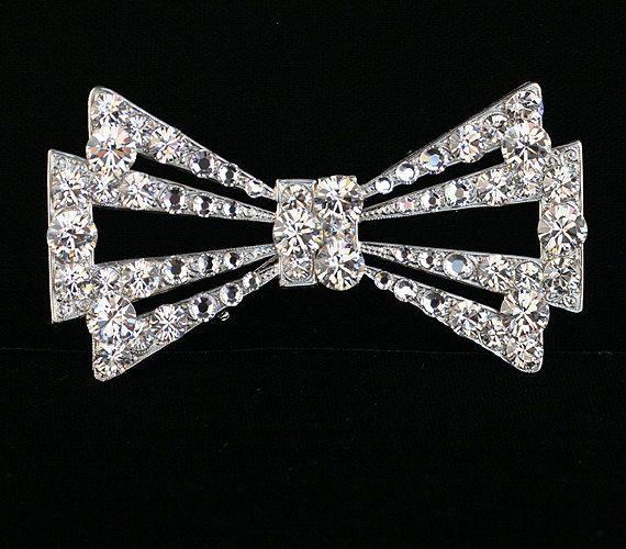 Bridal brooch - Wedding dress brooch - Rhinestone Hair brooch - Style Holiday Bridal Brooch with Swarovski Crystal- One of a Kind