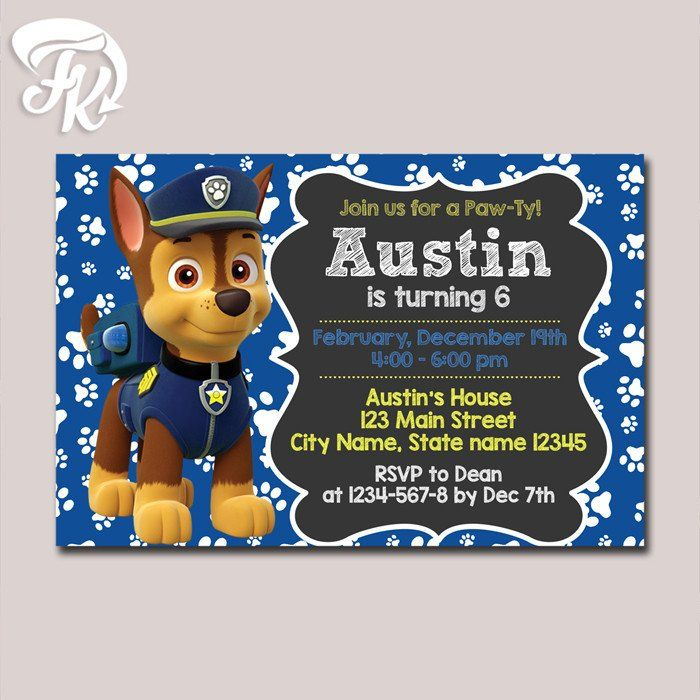 Chase Customizable PAW Patrol Birthday Party Invite Card Digital Invitation 919 USD