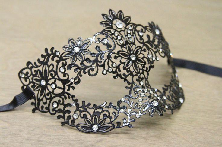 "Black ""Tranquil Garden"" Masquerade Mask - Venetian Victorian Face Accessory - Laser Cut Metal with Rhinestones"