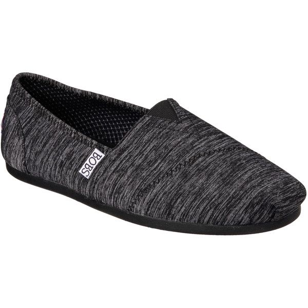 Skechers Women's Bobs Plush - Express Yourself Black - Skechers ($40) ❤ liked on Polyvore featuring shoes, black, flat slip on shoes, kohl shoes, flat shoes, slip-on shoes and skechers footwear