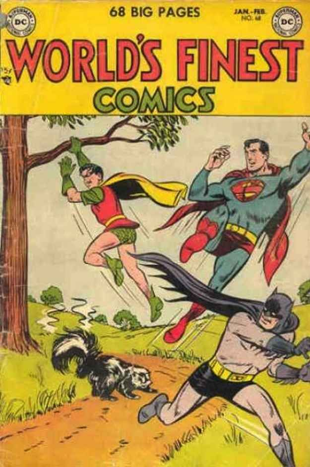 The issue in which we learned that a skunk -- not Kryptonite -- is Superman real Achilles' heel. | 23 Absurdly Lame Things That Happened To Superman, Batman, And Robin
