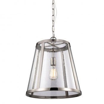 A contemporary look to an industrial design ceiling pendant light with a polished nickel tapered shade structure and clear seeded glass panels. It takes a standard 60 watt bulb and can be switched using a standard switch or dimmer switch. This would be suitable for use in any modern setting and would be great for kitchen islands, over dining room table or in an entrance hall.