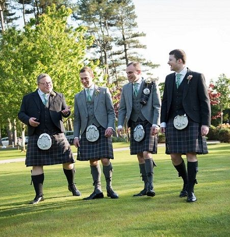 The #groom, #bestman and #ushers all in our #exclusive Lomond Mist #kilts. The groom and Best man (centre) are in our Lomond Grey Tweed jackets and waistcoats and the ushers are in our Charcoal Glen Orchy Tweed #jackets and #waistcoats. The Groom also wore a #plaid to match his kilt. #macgregorandmacduff #kingsofkilts #scottish #wedding #scottishwedding #scotland #macgregorandmacduffweddings