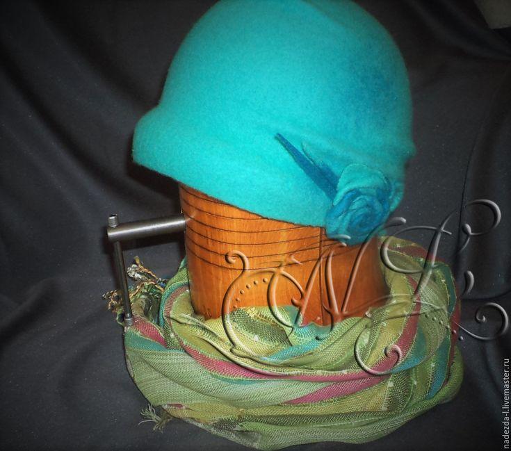 """Купить Шляпка валяная """" Бирюзовое небо..!"""" - бирюзовый, однотонный, Шляпа валяная"""