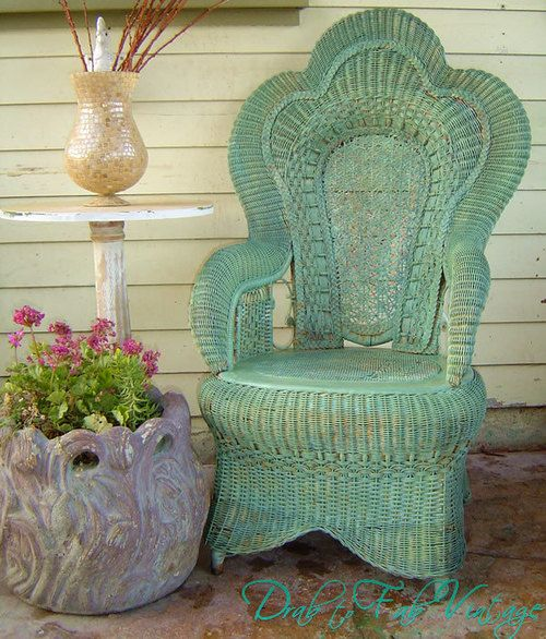 VICTORIAN RATTAN CHAIR - Vintage Antique Wicker Woven Garden Patio Sunroom Porch Bedroom Scroll Designs Painted Turquoise Aqua by @DrabtoFabVintage | classic as a wicker chair.