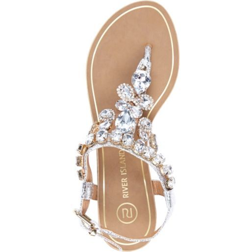 Silver gem embellished t bar sandals - flat sandals - shoes / boots - women