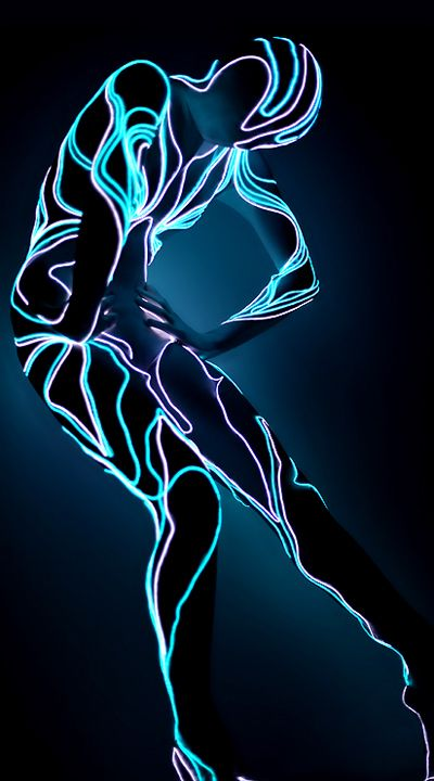 electroluminescent wire (EL wire) costume. I can easily see this as being worn by dancers in some wealthy cyberpunk bar (yes not everything has to be gritty)