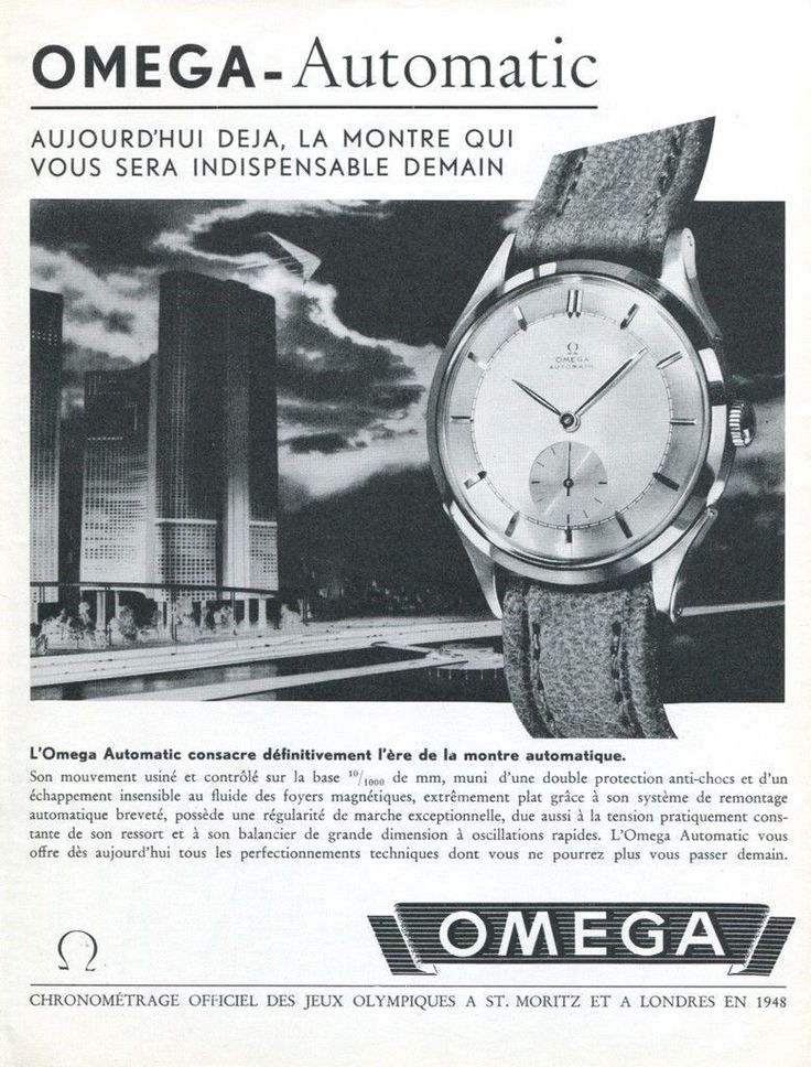Vintage 1947 Omega Automatic Watch Advert 1940s Swiss Ad Suisse CH Switzerland in Collectibles, Advertising, Jewelry & Watches   eBay