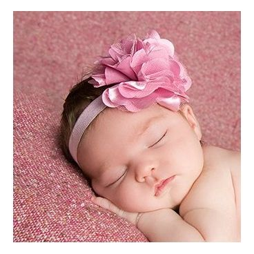 "satin tulle flower ""Dusty  pink""  - BabyCity.gr"