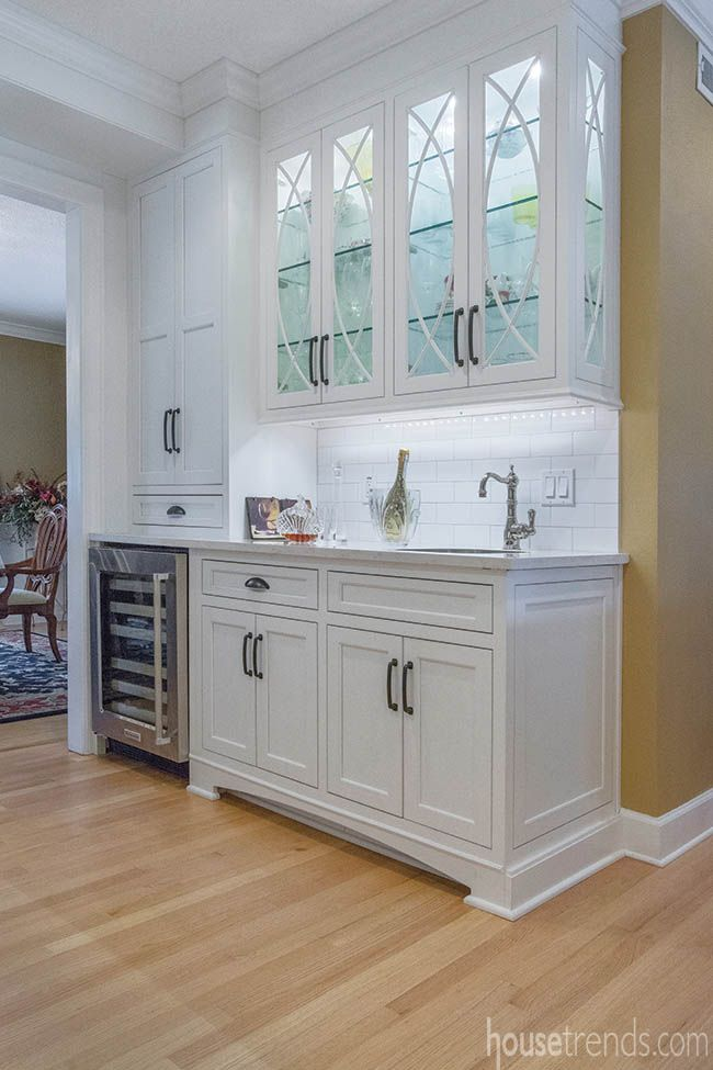 beverage center is incorporated into a kitchen design