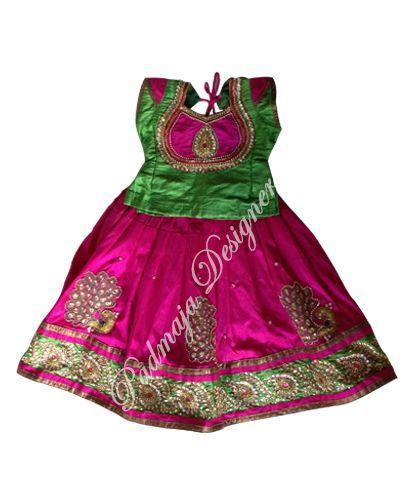 Soft langa, printed border, & rady lays, & printed soft silk blouse for 3 years baby cost Rs.4500/- #parikini