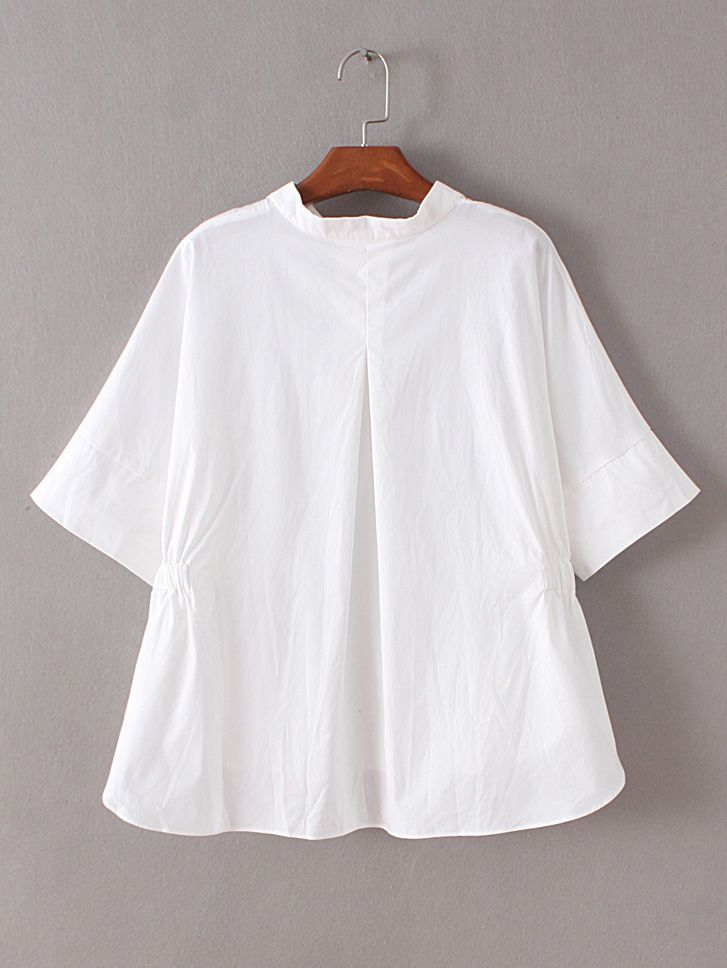 Buy White Band Collar Embroidery High Low Blouse from abaday.com, FREE shipping Worldwide - Fashion Clothing, Latest Street Fashion At Abaday.com