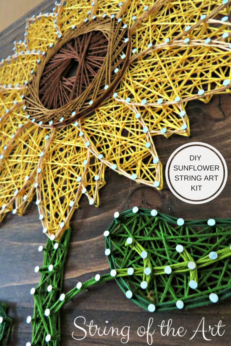 Unique DIY Sunflower String Art Kit. Make for yourself or create and give to a loved one. Creative Gift Idea! #String Art #Sunflower #DIY