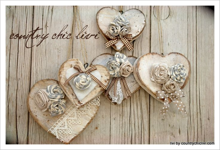cuore, country, shabby, roselline, tessuto