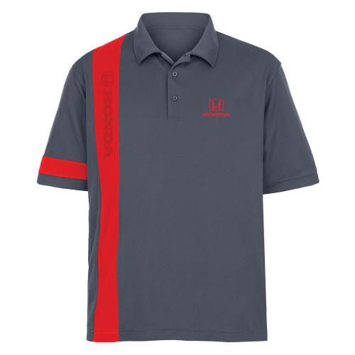 Race-Day Men's Performance Stripe Polo. Contrasting insert colour stripes. FERST-DRY? and anti-bacterial, this polo features self-collar and drop tail with side vents. Honda logo laser etched on down the stripe and embroidered in red on left chest.