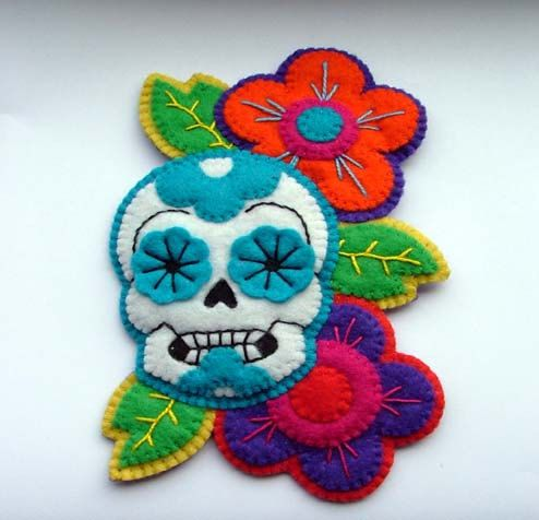 Felt sugar skull brooch, The Doll City Rocker via Etsy