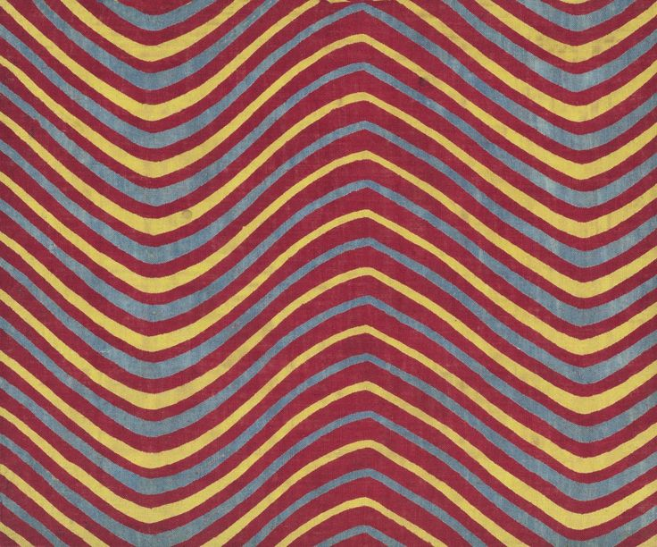 Sample of cylinder printed cotton with design of undulating or zigzag lines in alternating colours of red, yellow and blue. Part of the Turkey Red Collection A.1962.1266.1 - A.1962.1266.78, with subdivisions, totalling c. 40,000 items: Scottish, Dunbartonshire, c. late 19th century
