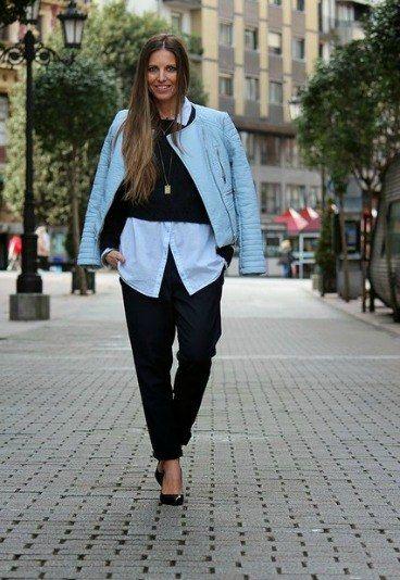 Look del dia - Martes - Moda urbana, con biker azul cielo, camisa vaquera