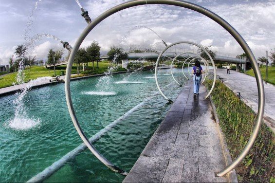 Paseo Santa Lucia | Monterrey, Mexico | Urban Landscape #path #waterway #water #feature #jet