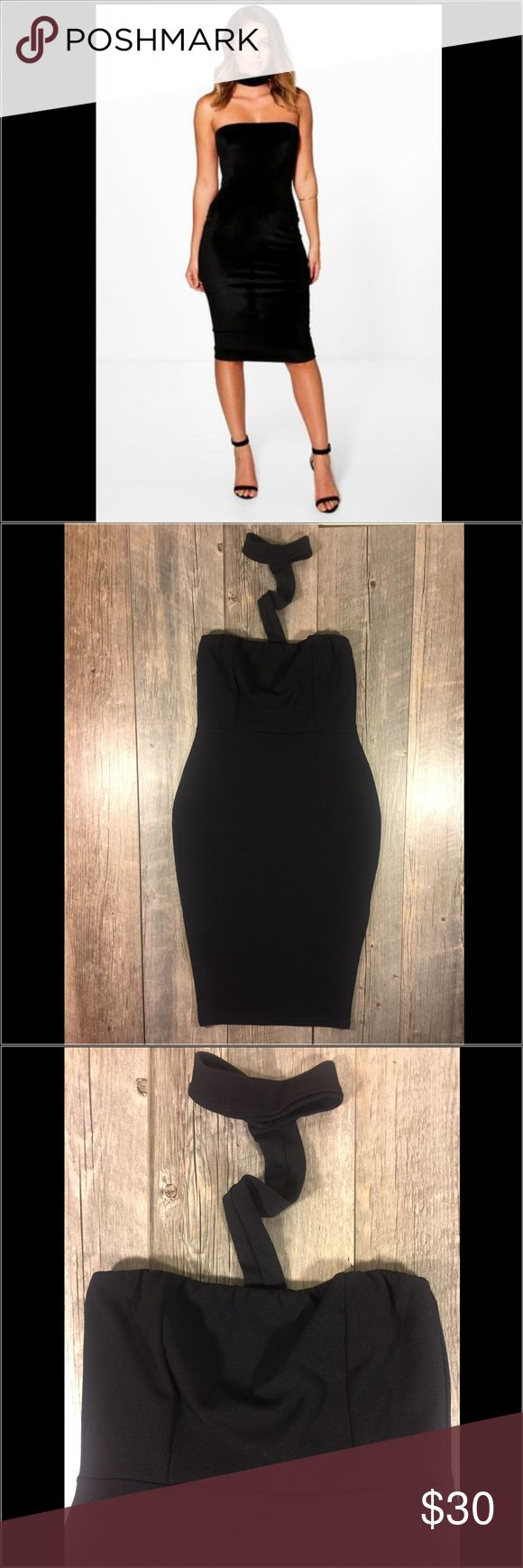 NWT Boohoo black choker strapless midi dress NWT Boohoo black choker strapless midi dress. Buttons behind neck. Elastic waistband at chest. 37 inches long from underarm to hem. Polyester elastane. Tag reads size US 10. #4 Boohoo Dresses Midi