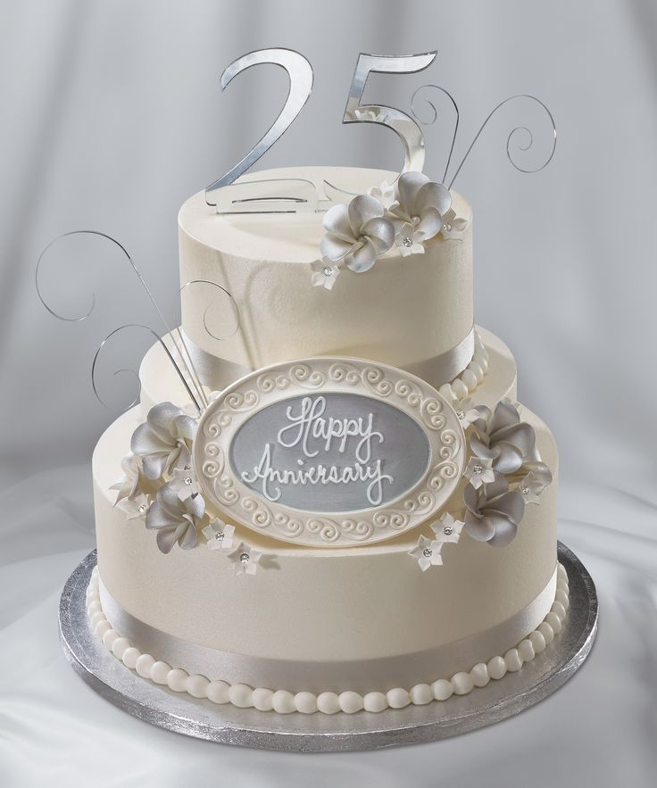 25th Wedding Anniversary cake, silver anniversary