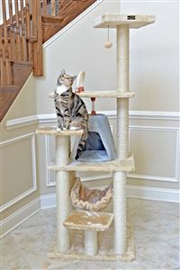 """This 65"""" tall cat tree from Armarkat is the ultimate scratching option for cats! Loaded with nine individual sisal posts, your kitty can dig his claws in almost anywhere on this jungle gym. Aside from just scratching, your kitty can also enjoy climbing on any of the jumping platforms. https://www.moorepet.com/Armarkat-Cat-Tree-A6501-p/armarkat-a6501.htm"""