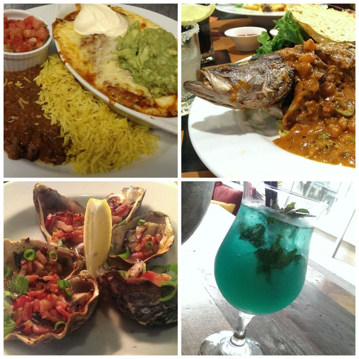 We do scrummy enchiladas and lots of different seafood dishes. Oh, and cocktails. We do awesome cocktails!!