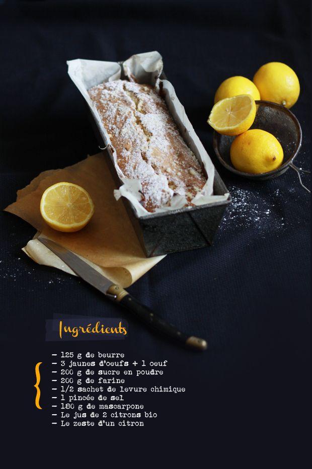 Cake au citron2 CAKE AU CITRON & MASCARPONE- 125 g de beurre - 3 jaunes d'œufs + 1 œuf - 200 g de sucre en poudre - 200 g de farine - 1/2 sachet de levure chimique - 1 pincée de sel - 180 g de mascarpone - Le jus de 2 citrons bio - Le zeste d'un citron
