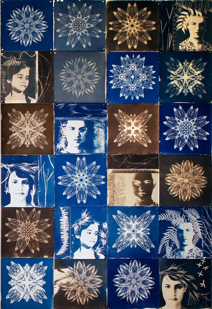 "'night rhythms"", paper quilt, cyanotype on Rives BFK - twenty four 13"" x 13"" squares. 2013"