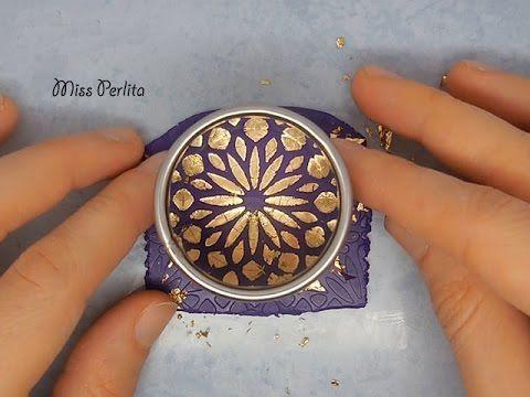 Polymer Clay Tutorial: Parure con Foglia Oro Effetto Cracklè | Gold Leaf Crackle on Polymer Clay - YouTube