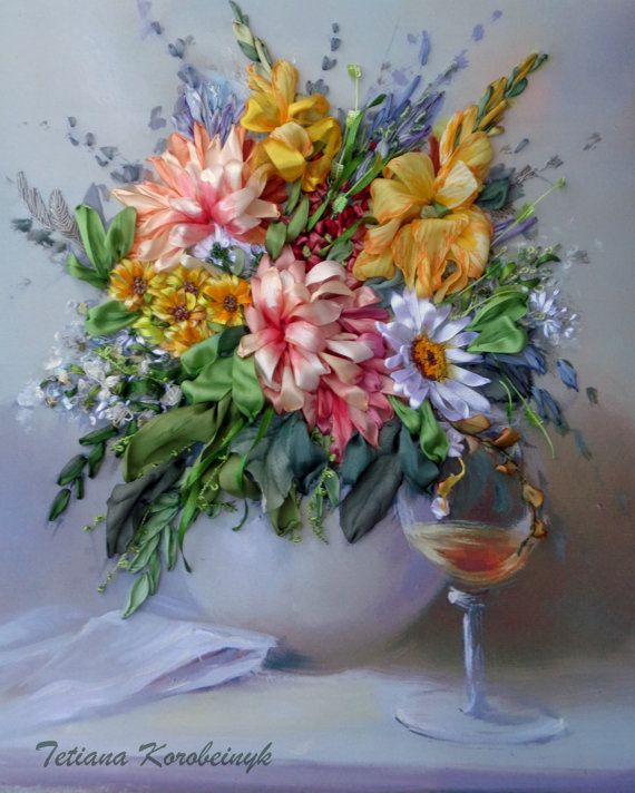 "picture ""The vase with the flowers "", Silk ribbon embroidery 3D effect"