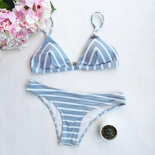 Cupshe Sea Of Me Stripe Bikini Set