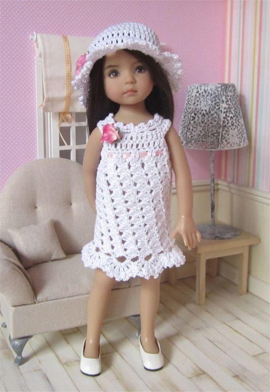 88- FICHE PATRON Tenue Romantique au crochet pour poupée Little Darling, Les Chéries de Corolle ou Paola Reina : Jeux, jouets par atelier-crochet
