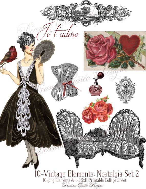 Victorian Clipart png ElementsValentine's Day by DeannaCartea