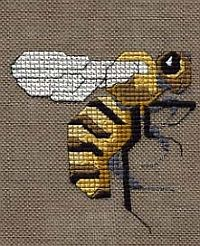 Simply Bee, free cross stitch design to download, uses Kreinik silk and metallic threads.