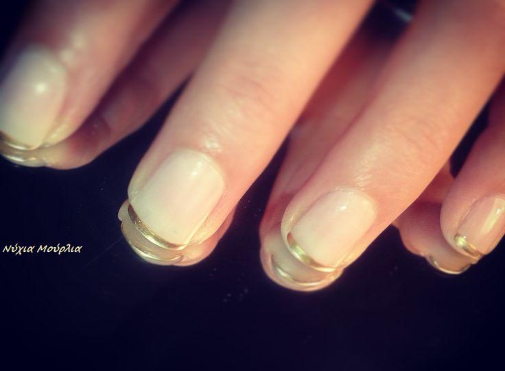 French nails Gold nails