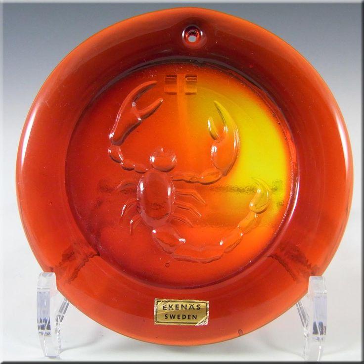 Ekenas Swedish Orange Glass Zodiac 'Scorpio' Suncatcher - £29.99