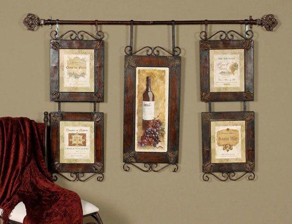 Большой коллаж с винной тематикой для оформления кухни