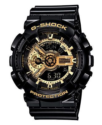 G-Shock Watch, Men's Analog Digital Black Resin Strap GA110GB-1A - G-Shock - Jewelry & Watches - Macy's