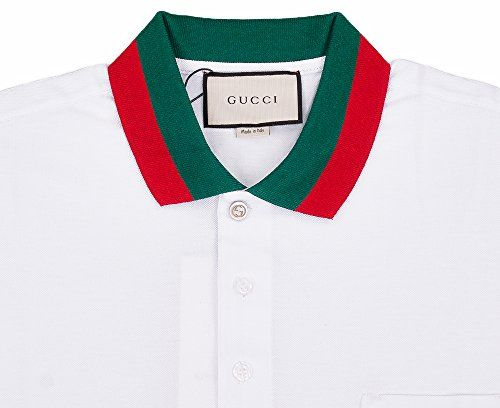 ec51c21a NEW Gucci Best Price Gucci Mens Polo Shirt White with Green and Red Collar ( XL)