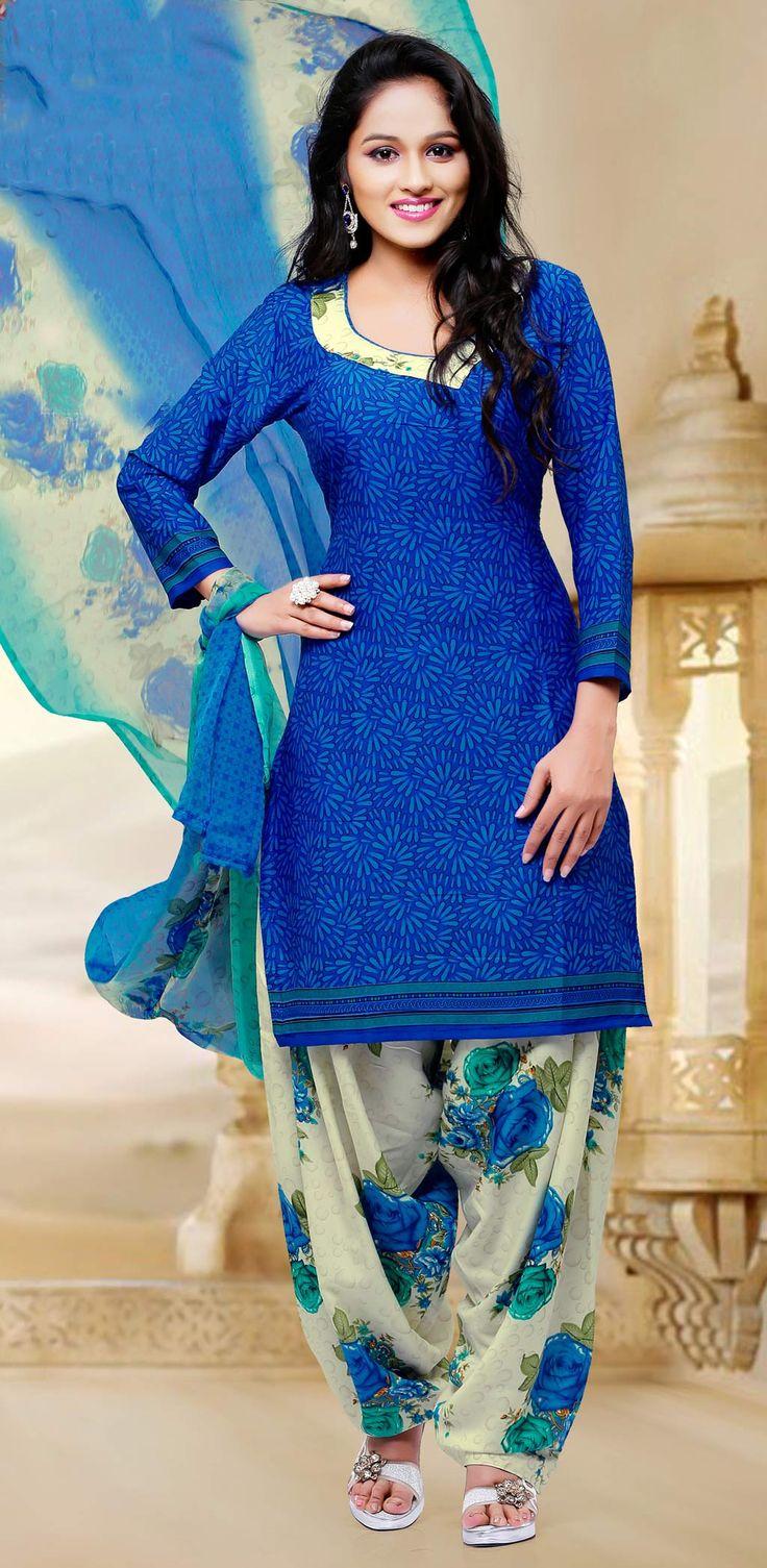 Blue Crepe Silk Patiala Suit 58797