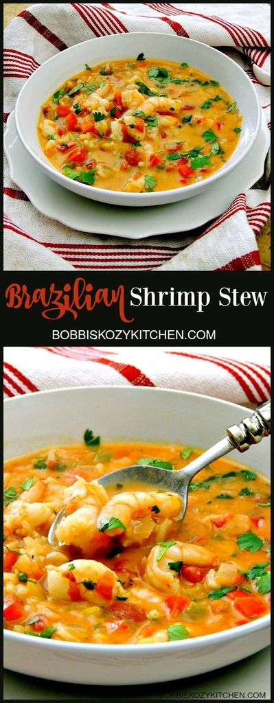 Brazilian Shrimp Stew is creamy and rich, with a touch of sweet and a little heat. From www.bobbiskozykitchen
