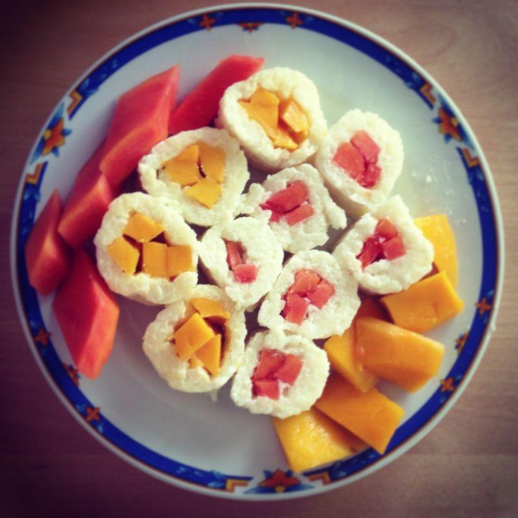 Sweet Rolls with Mango & Papaya