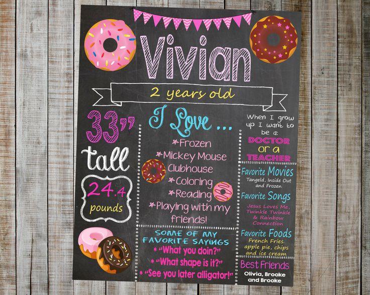 Donut Birthday Chalkboard / Donut Party / Donut Birthday Party / Donut Birthday Decorations / Printable Birthday Chalkboard / Donut Bday by AudreyEdesigns on Etsy https://www.etsy.com/listing/270262386/donut-birthday-chalkboard-donut-party