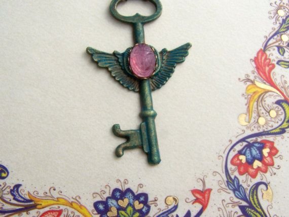 Scarab key necklace , egyptian scarab necklace , rose , egyptian revival , winged key €18.29  Scarab verdigris patina winged key necklace by Valkyrie´s Song