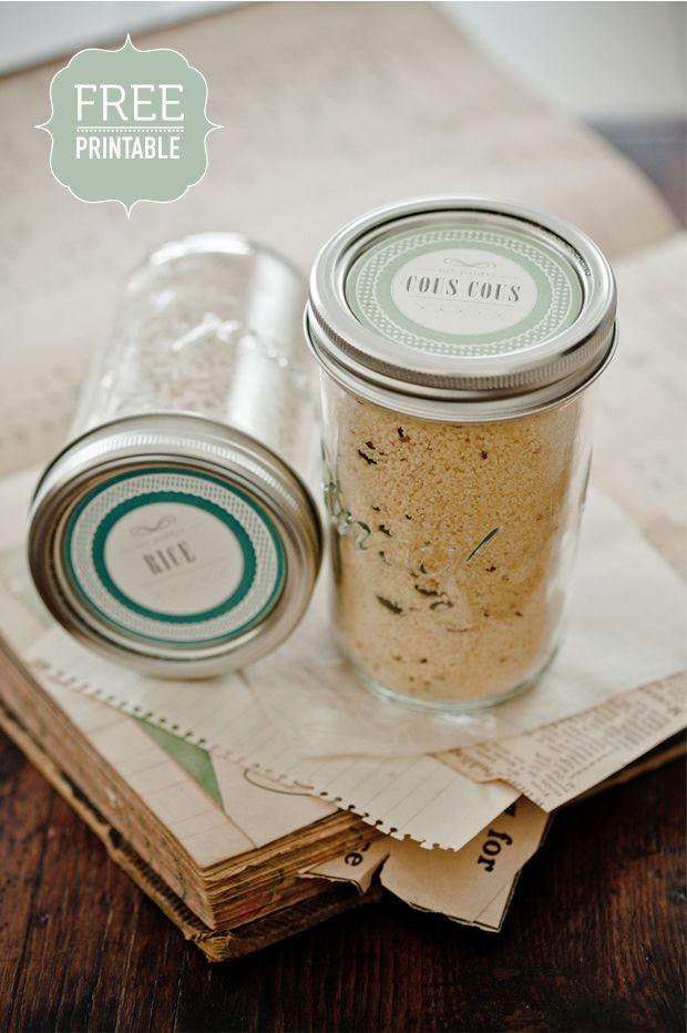 Free printables for mason jars: Vintage Suitca, Jars Cakes, Mason Jars Lids, Organizations Pantries, Jars Labels, Jar Labels, Pantries Organizations, Free Printables, Free Printable Labels