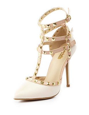 Studded Strappy Pointed Toe Pumps - http://AmericasMall.com/categories/juniors-teens.html